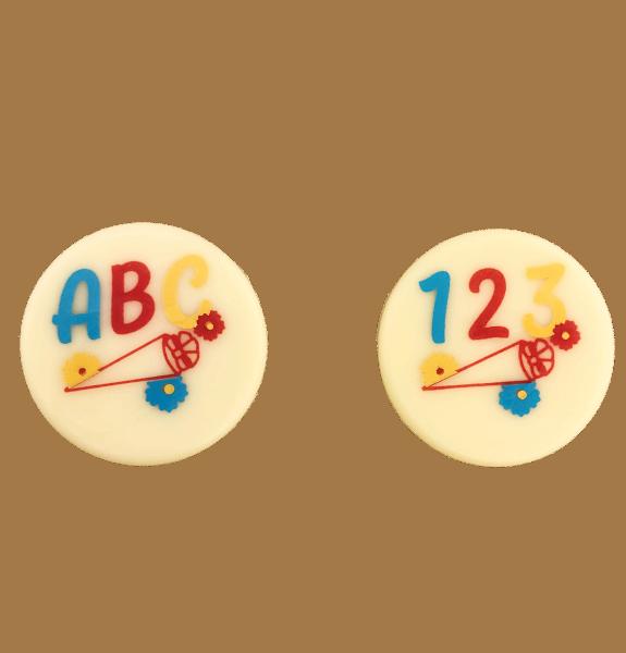 Schokoladenaufleger 123 und ABC mit Schultüte