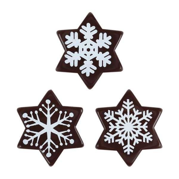 Schokoladen Sterne-weiße Schneekristalle ca.38mm 120 Stck