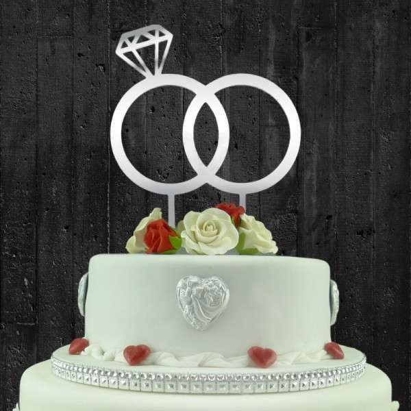 "Cake-Topper ""Doppelringe mit Diamant"" Acryl SPIEGEL"