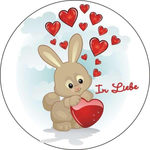 Zuckeraufleger Hase mit Herz - In Liebe 100mm 1 Stck