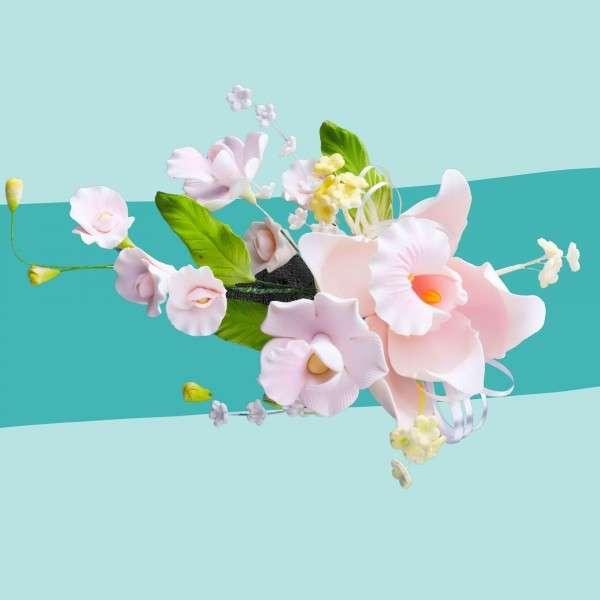 Zuckerblumenbouquet Orchideen Pink Vorschaubild