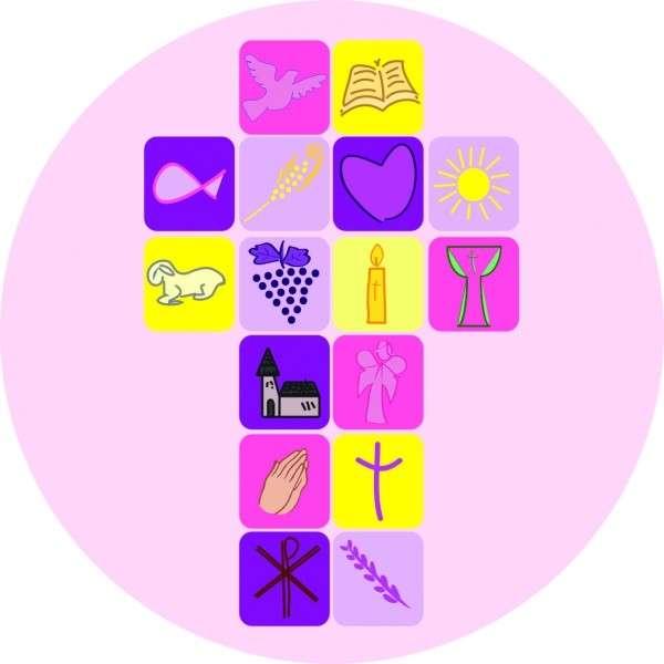 Zuckeraufleger Kreuz rosa Kommunion/ Konfirmation 95x150mm