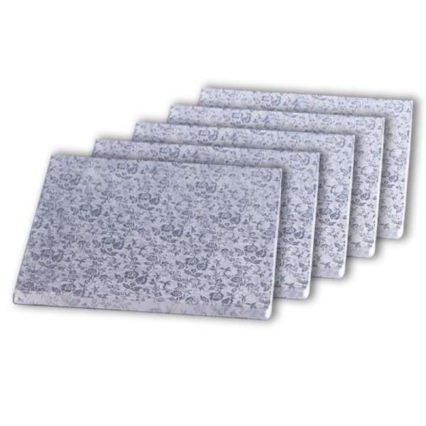 Tortenplatte quadrat 280 × 280mm Cake Board silber ca.10mm dick 5 Stck