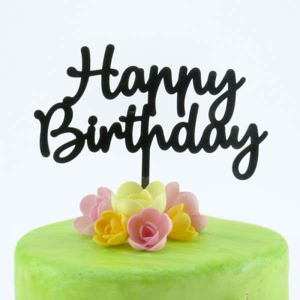 "Cake-Topper ""Happy Birthday"" Acryl schwarz"
