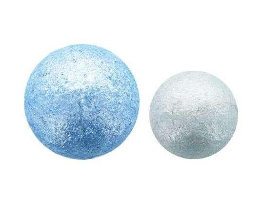 3D Schokoladen Glitzerkugeln Eisblau 2 Größen sortiert 108 x 28mm,32 x 22mm