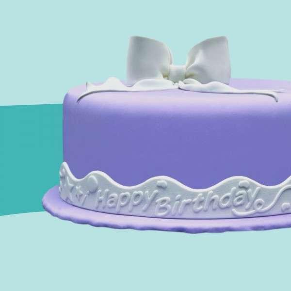 Fondantrand Wellenband Happy Birthday auf Torte