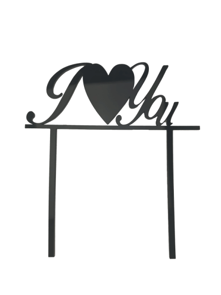 "Cake-Topper ""I Love you"" Acryl schwarz"