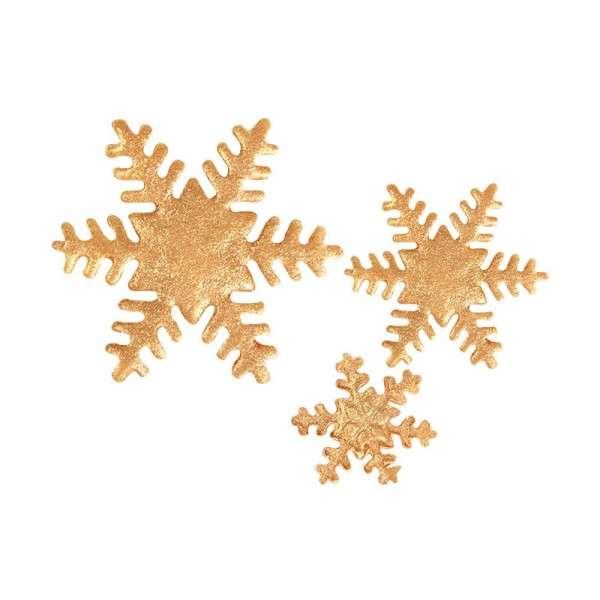 Zucker Schneeflocken gold 25,40,55mm 89 Stck