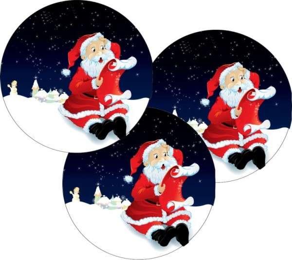 """Esspapieraufleger """"Weihnachtsmann mit Wunschzettel"""" 4cm"""