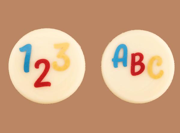 Schokoladenaufleger 123 und ABC 30mm rund 280 Stück