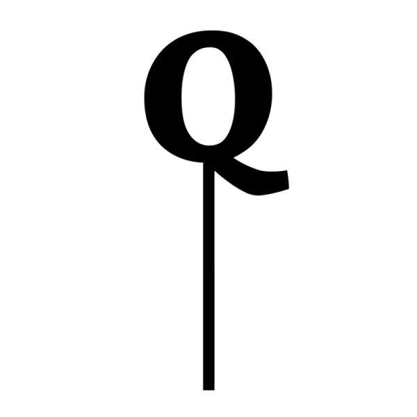 "Cake-Topper ""Q"" Straight, dick, schwarz"