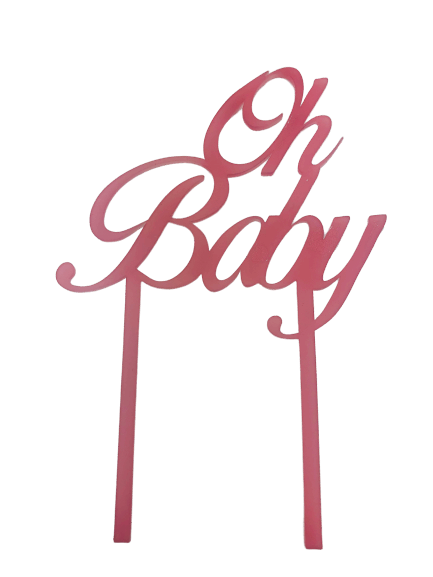 "Cake-Topper ""Oh Baby"" rosa"