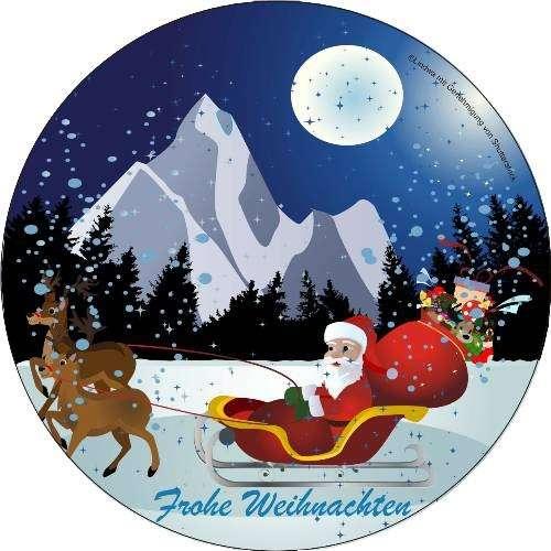Zuckeraufleger Weihnachtsmann mit Schlitten 4cm