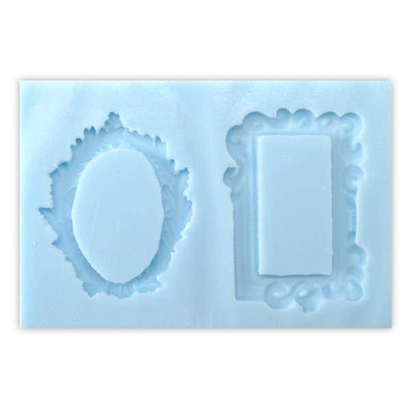 Silikonform für Fondant und Flowerpaste Bilderrahmen 2 Rahmen ca.5 x 3cm