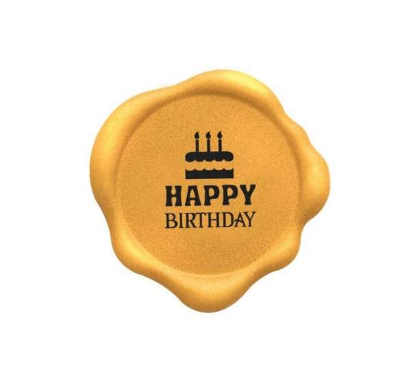 Schokoladendekor Happy Birthday gold weiße Schokolade 70 Stck 32x32mm