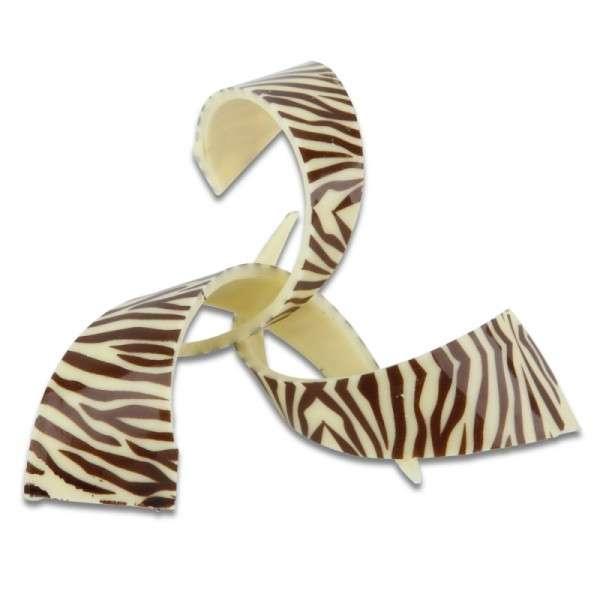 Schokoladendeko Spirale Zebra Länge 90mm 69 Stck