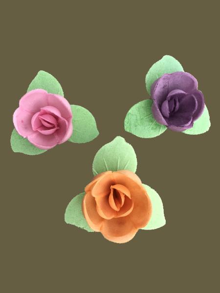 Esspapierrosen mit grünem Blätterkranz