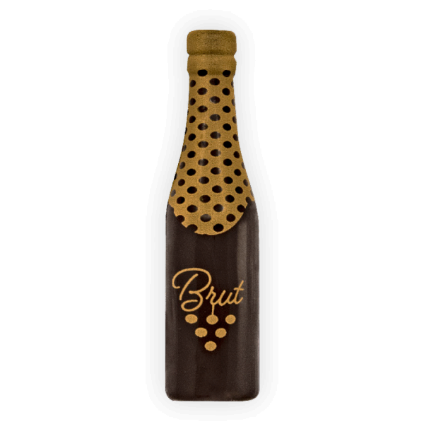 Schokoladendekor Champagner Flasche 3D dunkle Schokolade 24 Stck 20x80mm