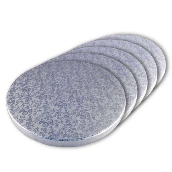 Tortenplatte 250 mm Ø Cake Board silber ca.10mm dick 5 Stck