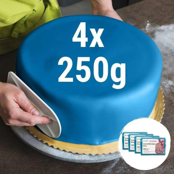 Farbiger Fondant blau 4 x 250 g