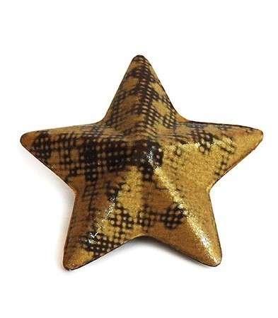 Schokoladendekor Stern mit goldenem Druck 3D 56 Stck ca.30mm