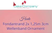 Gebrauchsfertiger Fondantrand Wellenband Ornament 2x1,25m