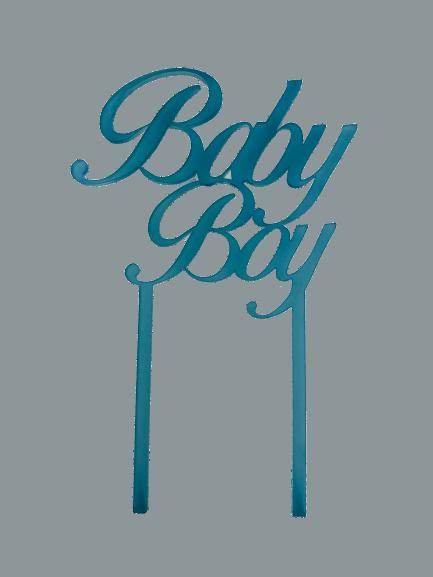 """Cake-Topper """"Baby Boy"""" Acryl Eisblau"""