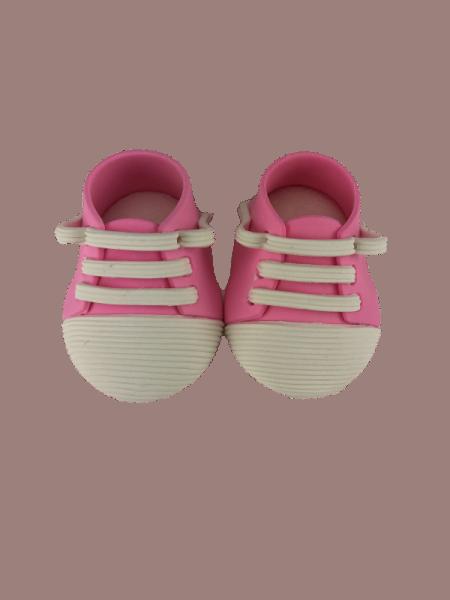 Zuckerdekoration Babyschuhe pink , 1 Paar, Einzelschuh ca.60 x 40mm