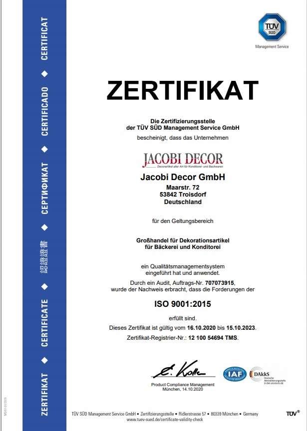 Jacobi-Decor-Iso-Zertifikat