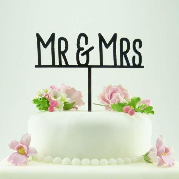 """Cake-Topper """"Mr&Mrs"""" auf Linie Acryl SCHWARZ"""