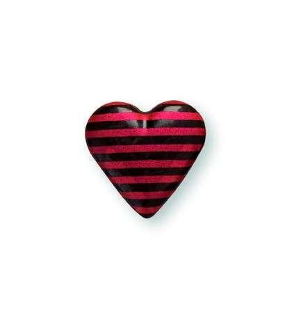 Schokoladendekor Herzen 3D mit roten Streifen dunkle Schokolade 1160 Stck 18x18mm