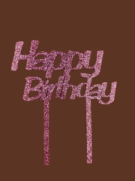 Cake Topper Happy Birthday Glitzer Rosa