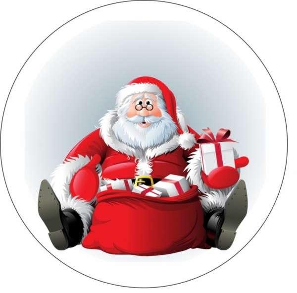 Tortenaufleger Weihnachtsmann mit Brille 10cm