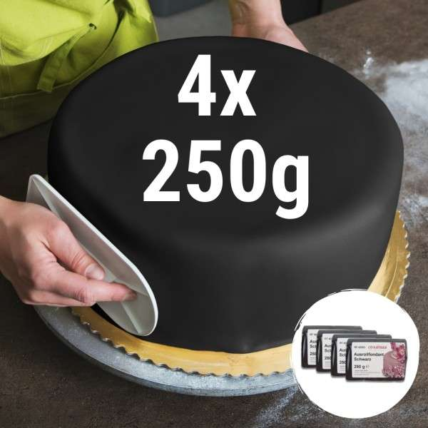 Farbiger Fondant schwarz 4 x 250 g